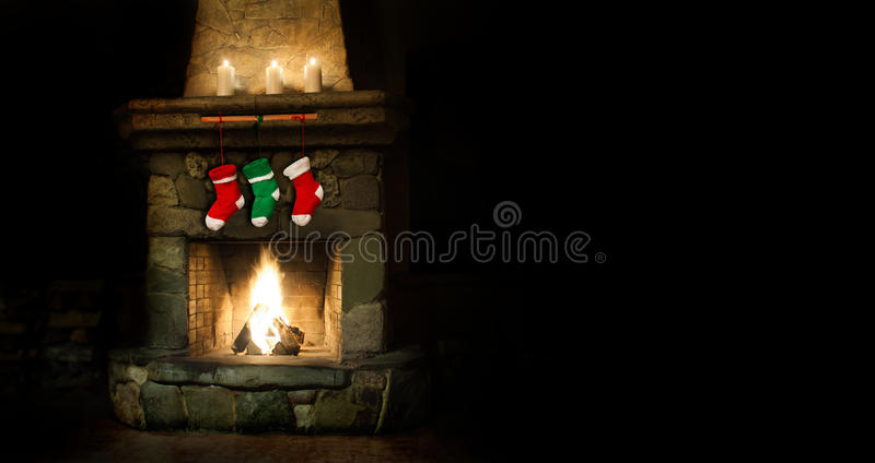 Romantic merry christmas postcard template. colorful stockings on fireplace collage. green red socks for gifts. Xmas stock images