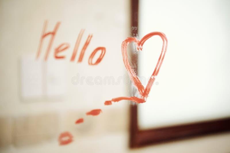 Romantic message in the bathroom stock photo