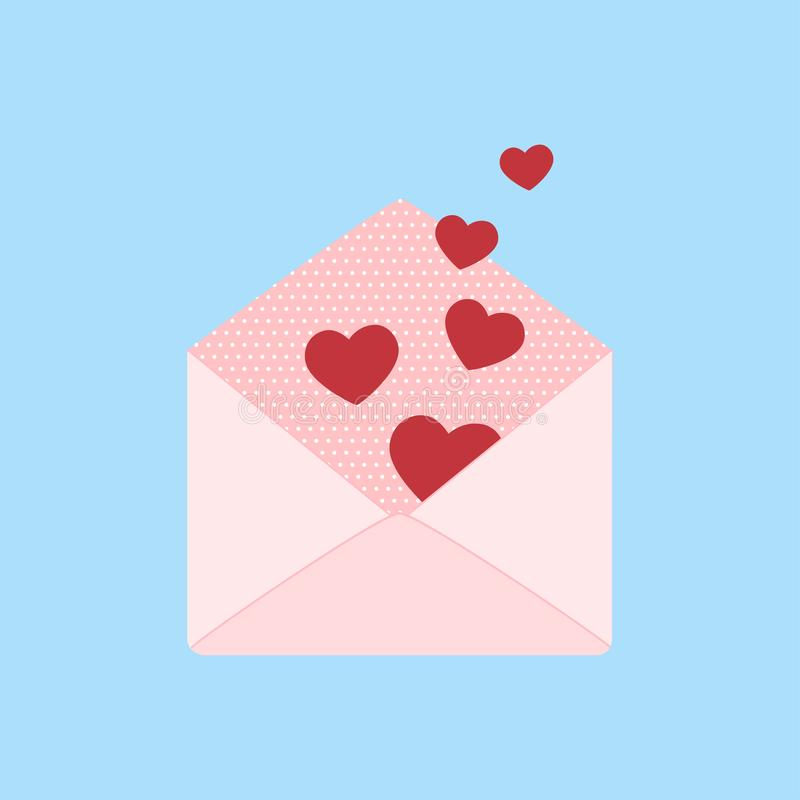 Romantic message for Valentines day with envelope and heards royalty free stock images