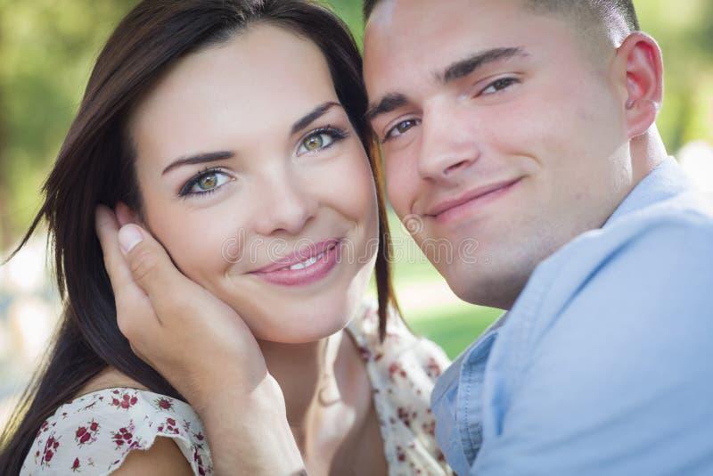 Romantic Mixed Race Couple Portrait in the Park