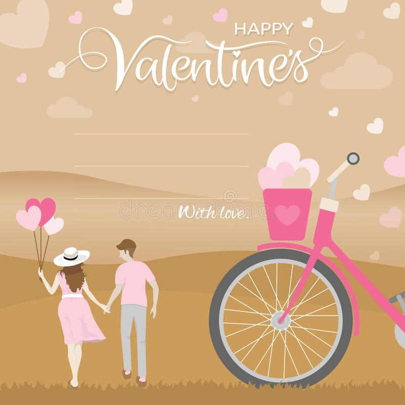 Romantic moment of happiness couple hold hand with nature landscape, Happy valentines day concept royalty free illustration