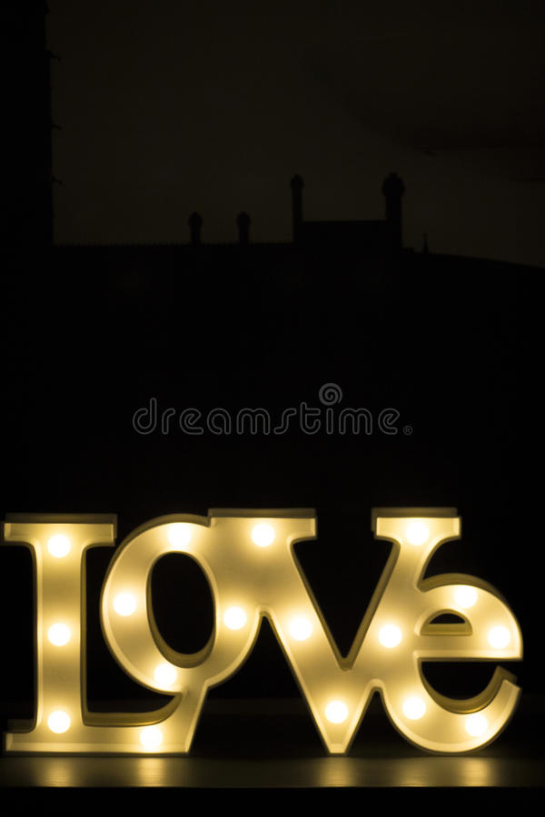 Download Romantic Neon Love Sign At Night Stock Image - Image: 64265991