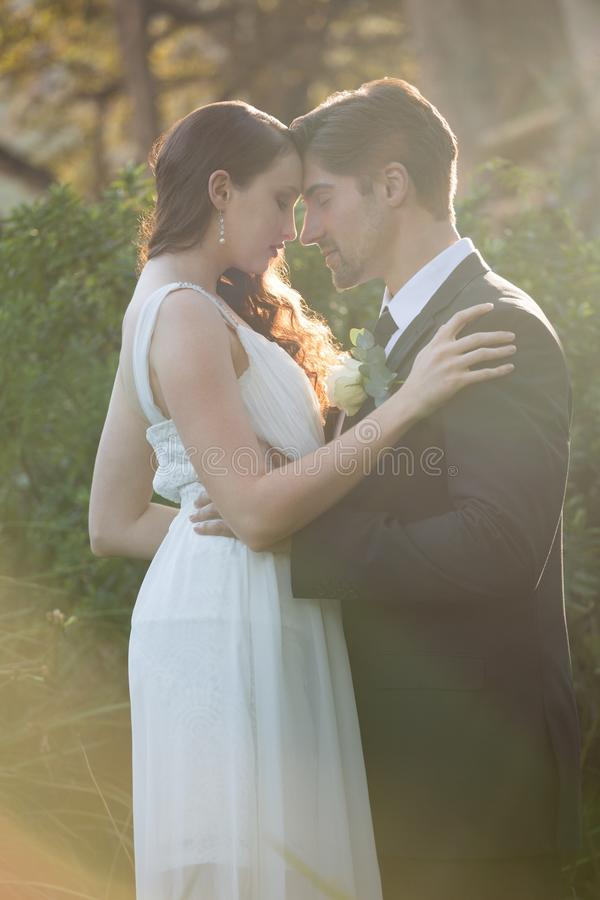 Romantic newlywed couple with eyes closed standing at park stock images