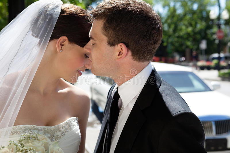 Romantic Newlywed Couple royalty free stock images