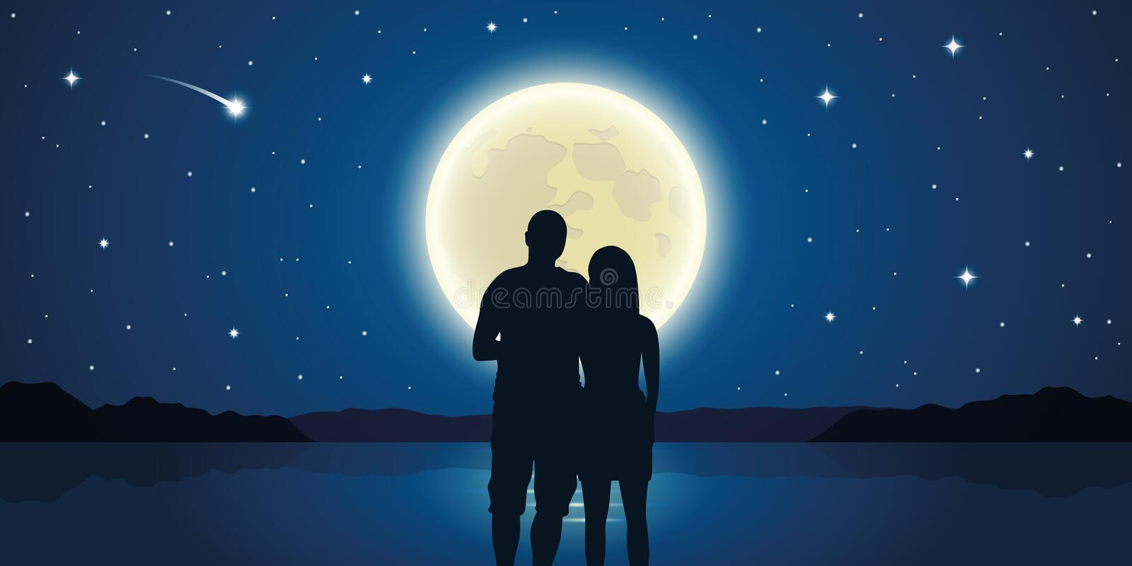 Romantic night couple in love at the sea with full moon and falling stars royalty free illustration