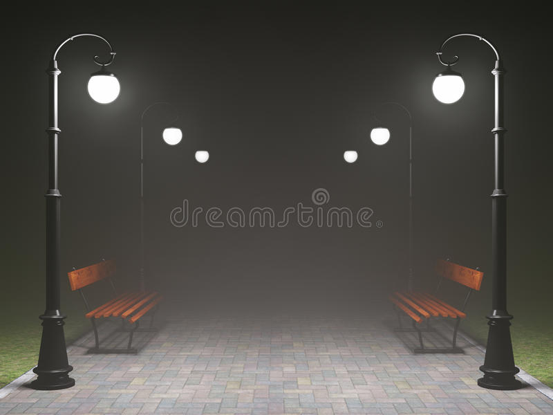 A romantic night scene vector illustration