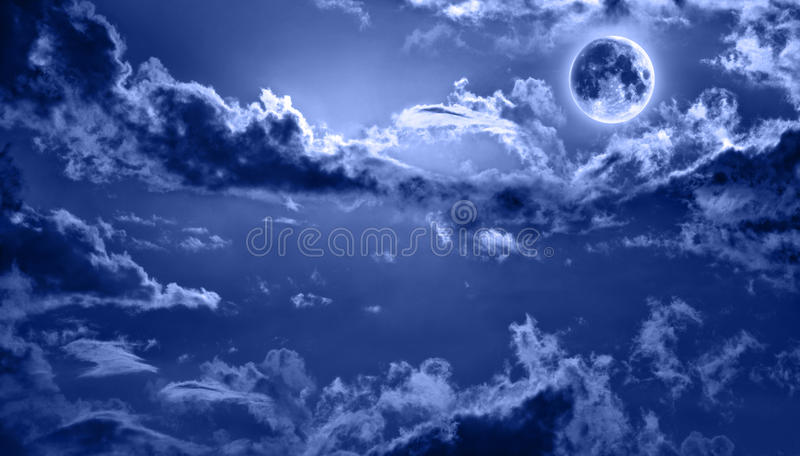 Download Romantic Night Sky Lit By Full Moon Stock Photo - Image: 18633542