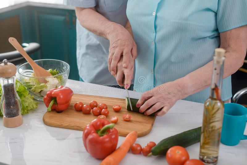 Romantic old couple cooking royalty free stock photo