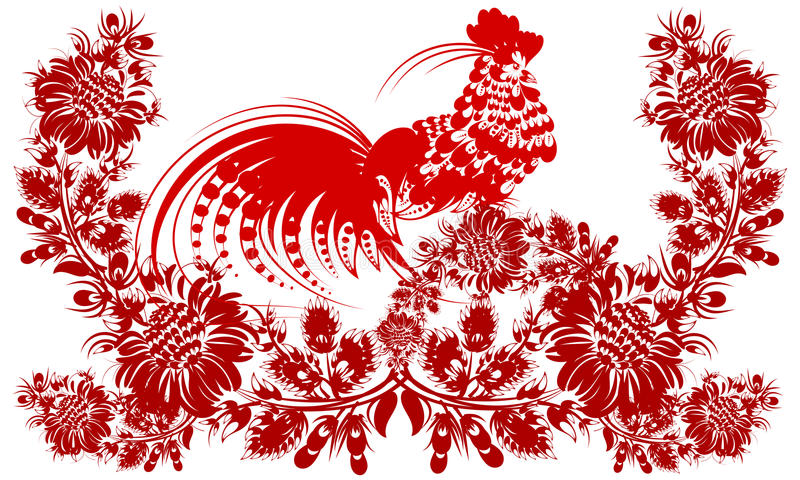 romantic painting Rooster Chinese calendar year of rooster flower red silhouette vector eps10 folk art decorative painting stock illustration