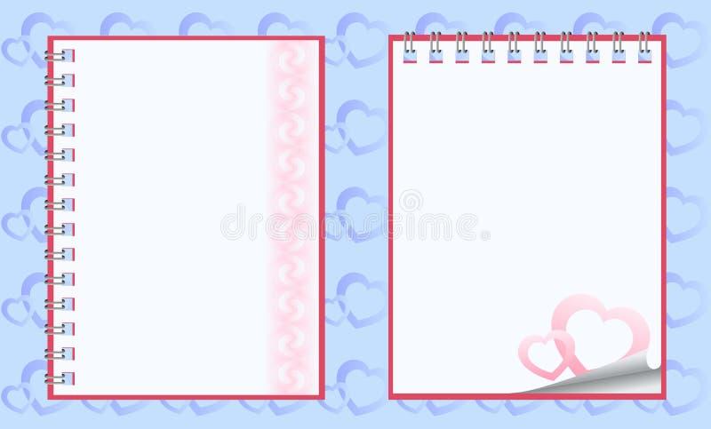 Romantic paper notebooks vector illustration