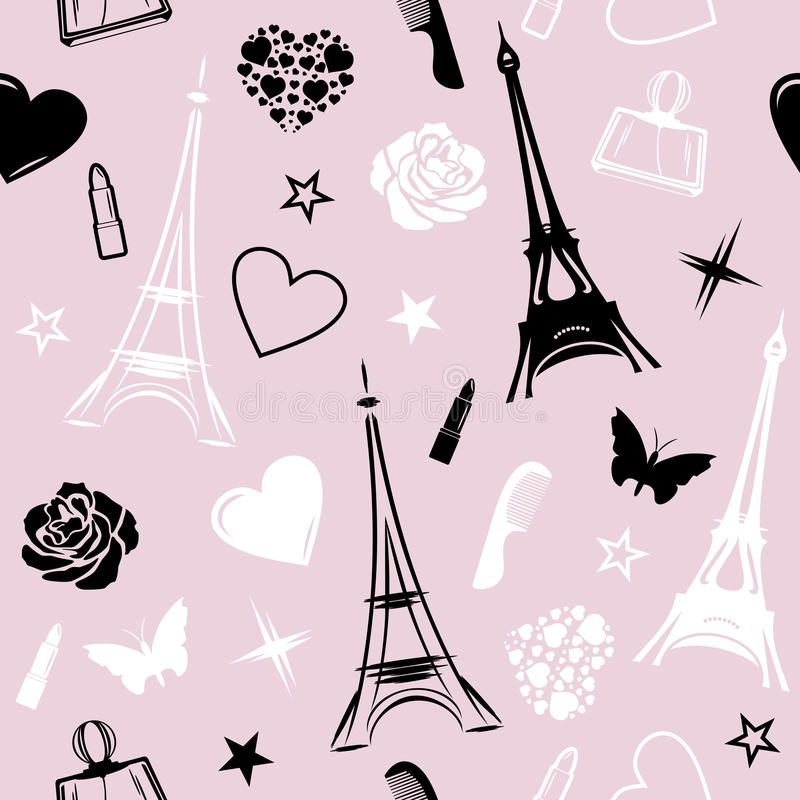 Romantic Paris. Seamless pattern for design royalty free stock photo