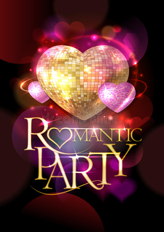 Romantic party poster, golden headline text and pink mosaic hearts. Bokeh hearts backdrop vector illustration