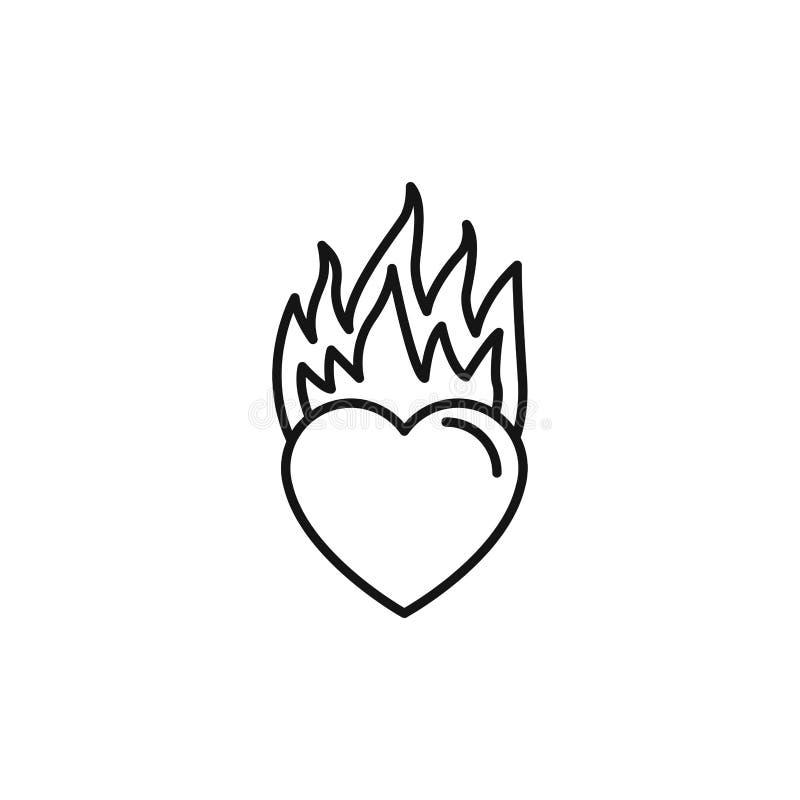 Romantic passion love line style stock illustration