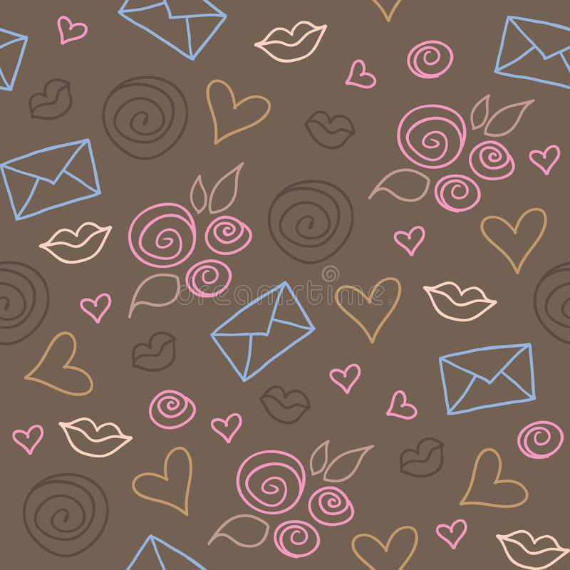 Romantic pattern. Cute romantic pattern with roses, hearts and envelopes royalty free illustration