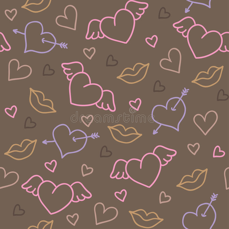 Romantic pattern. Romantic hand drawn seamless pattern with hearts vector illustration