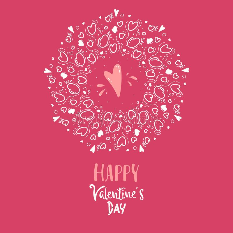 Romantic pattern with cute hearts. Vector ornament for Valentine`s day. Romantic design with hearts. Valentine`s day background. stock illustration