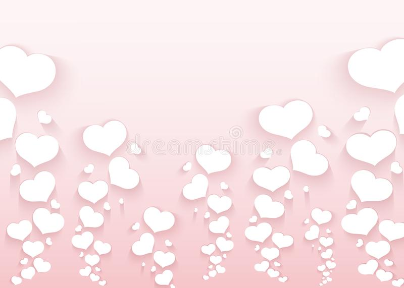 Romantic pattern with flying hearts on a pink background Empty template for poster banner Valentine`s Day advertisements wedding. Romantic pattern with flying royalty free illustration