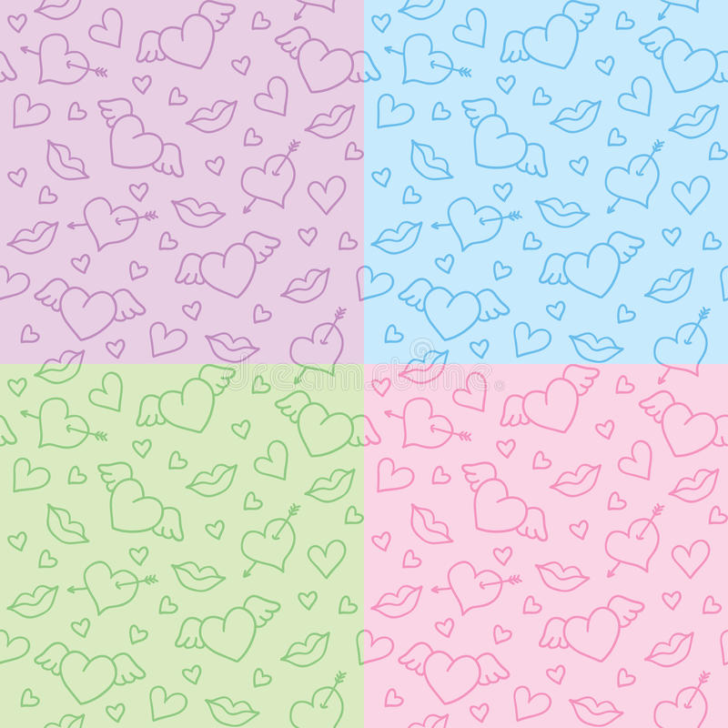 Romantic patterns. Set of romantic seamless patterns with hearts stock illustration