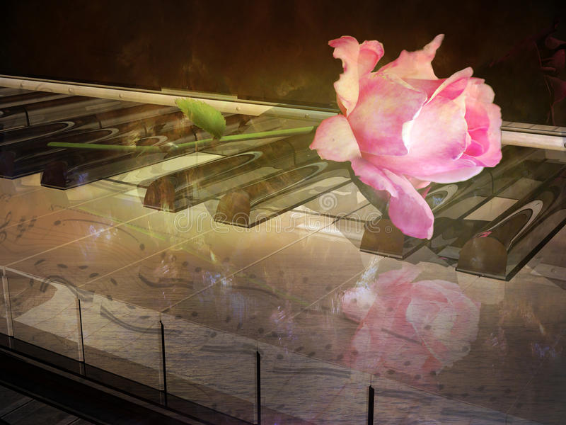 Romantic piano melody stock illustration