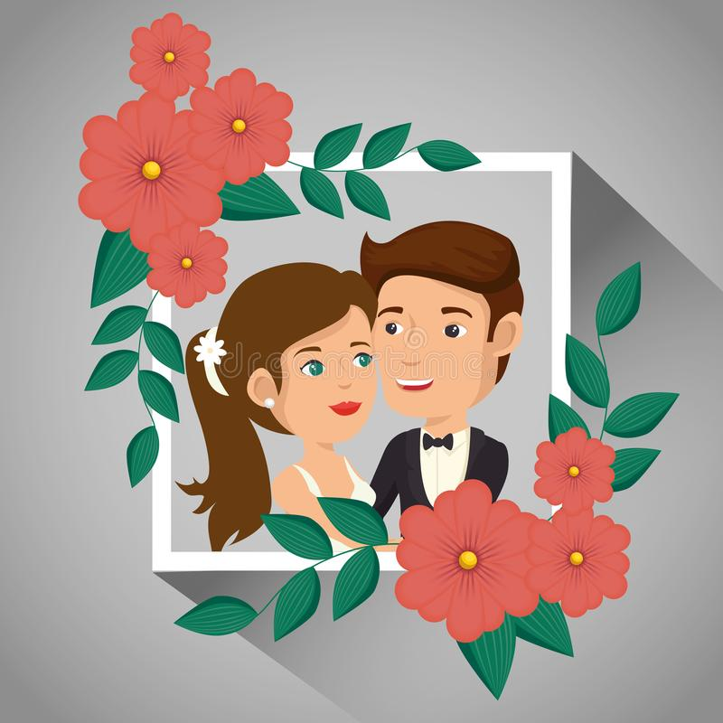 Romantic picture of just married couple with floral frame. Vector illustration vector illustration