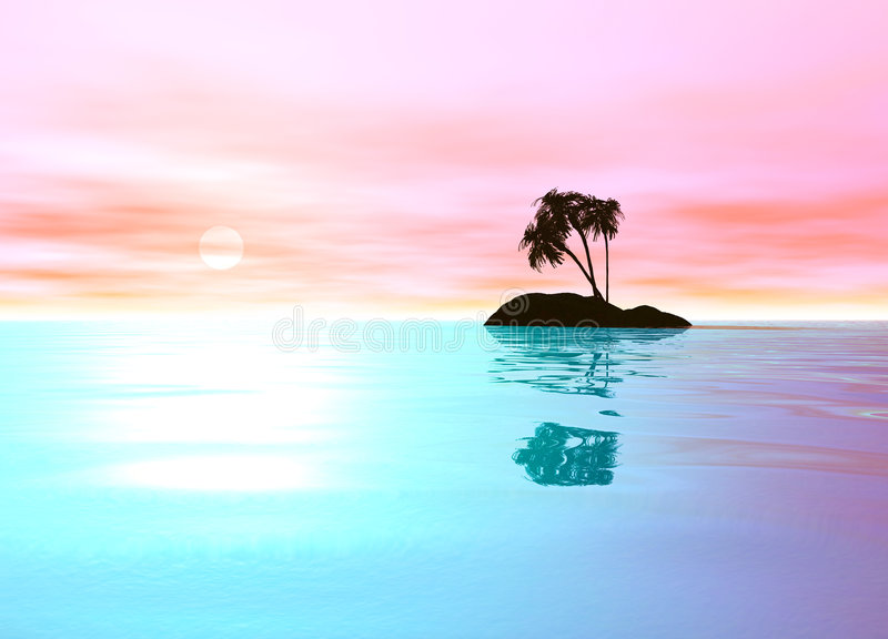 Romantic Pink Desert Island with Palm Tree. Sillhouette against the Horizon stock illustration