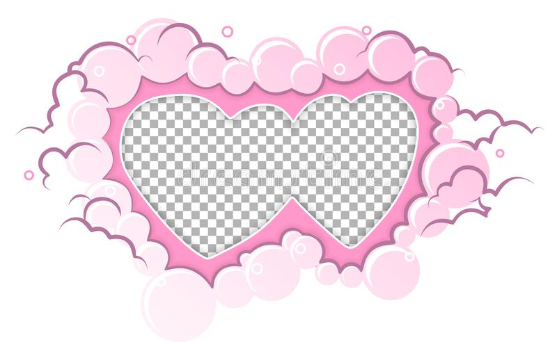 Romantic pink frame hearts template. Wedding card, valentine`s day greetings, lovely frame. royalty free illustration