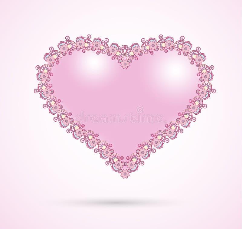 Romantic pink heart royalty free illustration