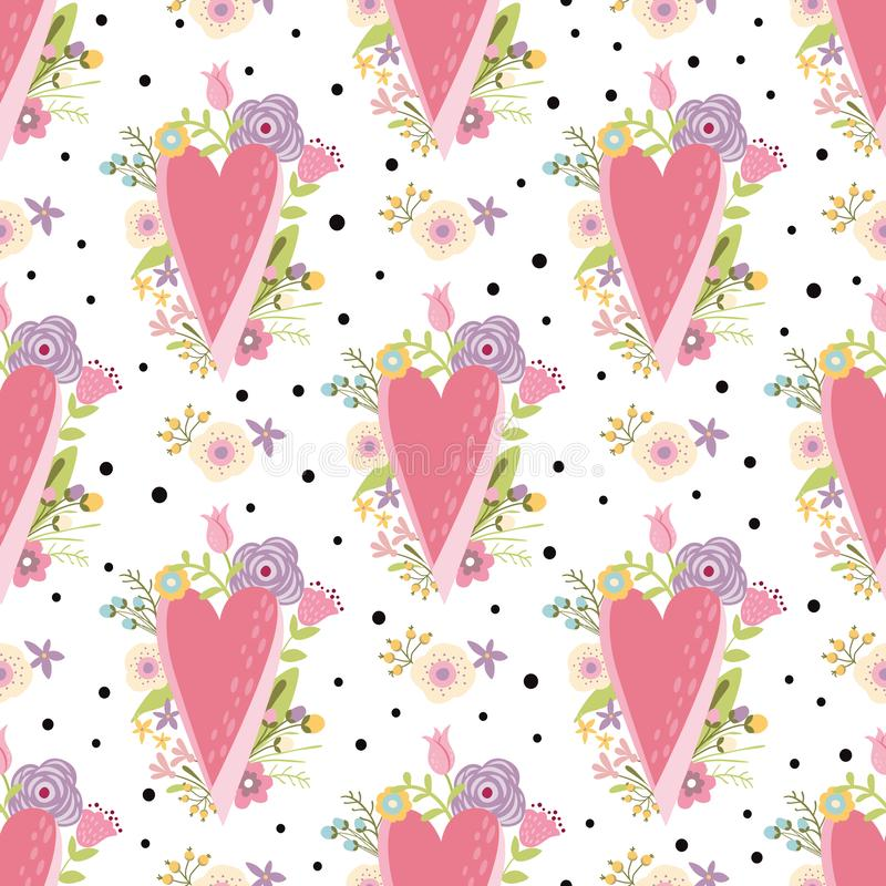Romantic pink hearts pattern decorated cute flowers. Valentines Day love seamless background stock illustration