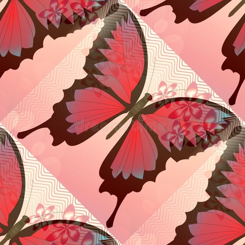 Romantic pink and red background with blended butterfly and small flower motif royalty free illustration