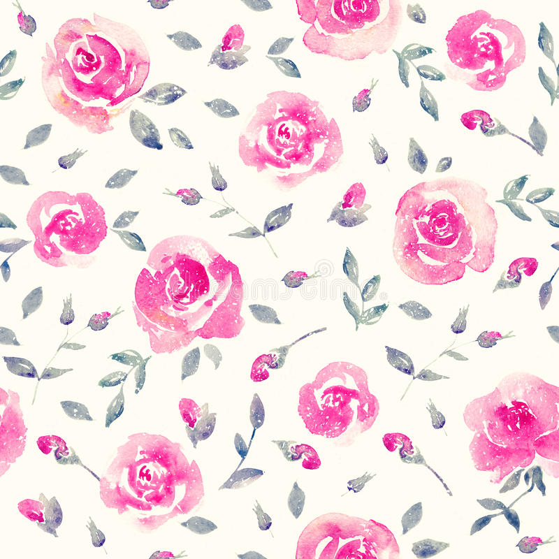 Romantic Pink roses - Floral seamless Pattern. Romantic vibrant Pink Floral seamless Pattern. Watercolor roses on a white background. Fresh and bright design stock illustration