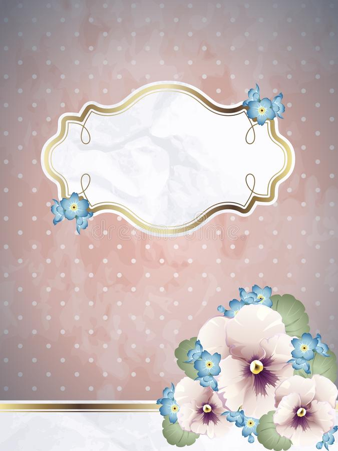 Romantic Pink Square Banner With Flowers Royalty Free Stock Images