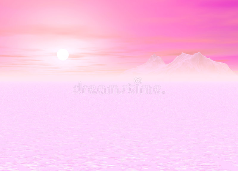 Romantic Pink Sunsetting over a distant Mountain. Ous Plain stock illustration