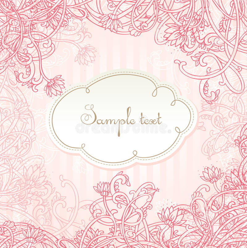 Romantic pink vector card design stock illustration