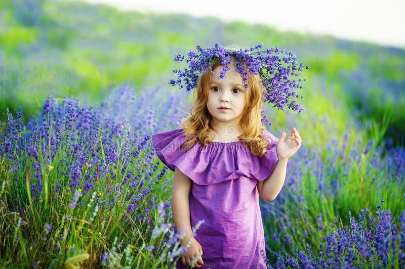 Romantic portrait of the beautiful little girl with a flower in her hair stock photo