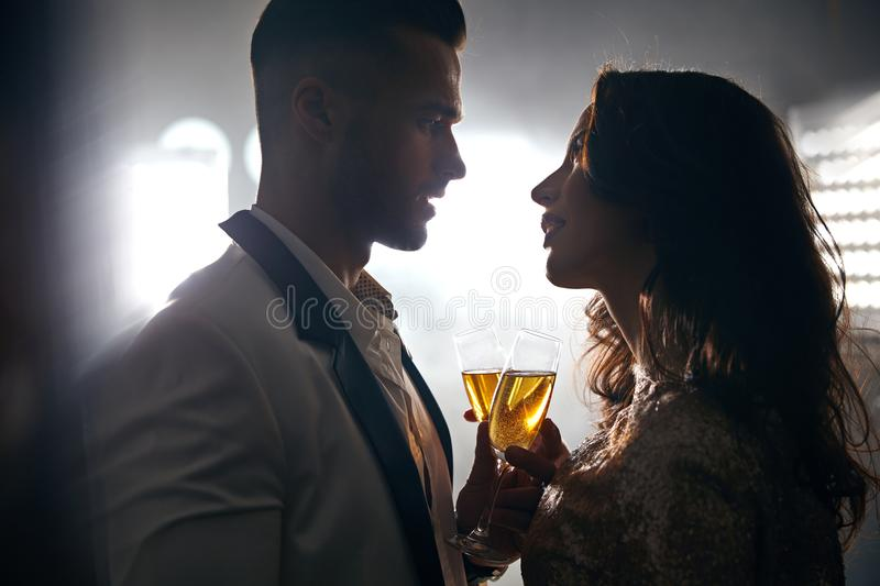 Romantic portrait of two lovers making a toast. Romantic portrait of two, elegant lovers making a toast royalty free stock image