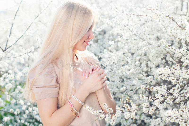Romantic Portrait of Young Beautiful Blonde Woman royalty free stock image