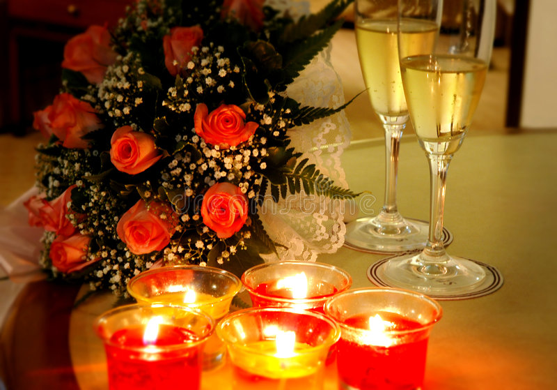 Romantic preparations stock photo