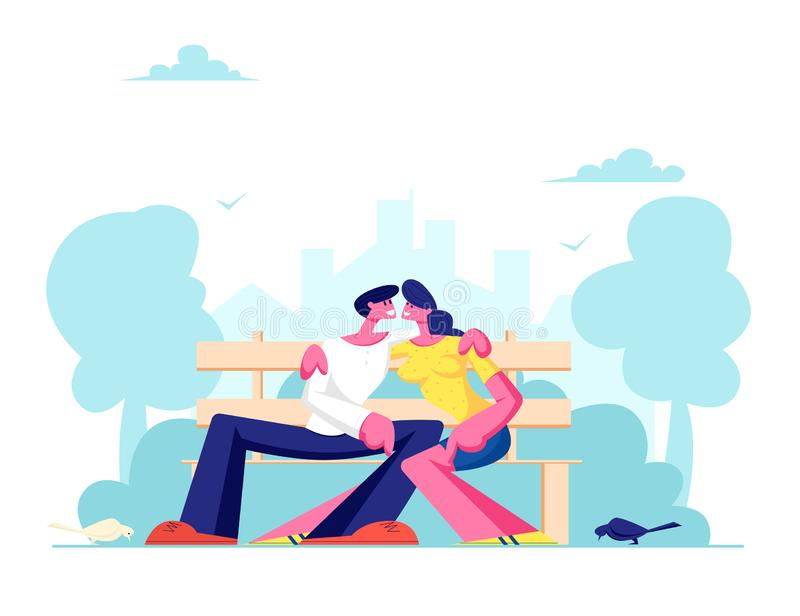 Romantic Relations, Love. Young Loving Couple Hugging on Bench in City Park. Summertime Vacation. Outdoors Spare Time. Leisure. Cartoon Flat Vector stock illustration