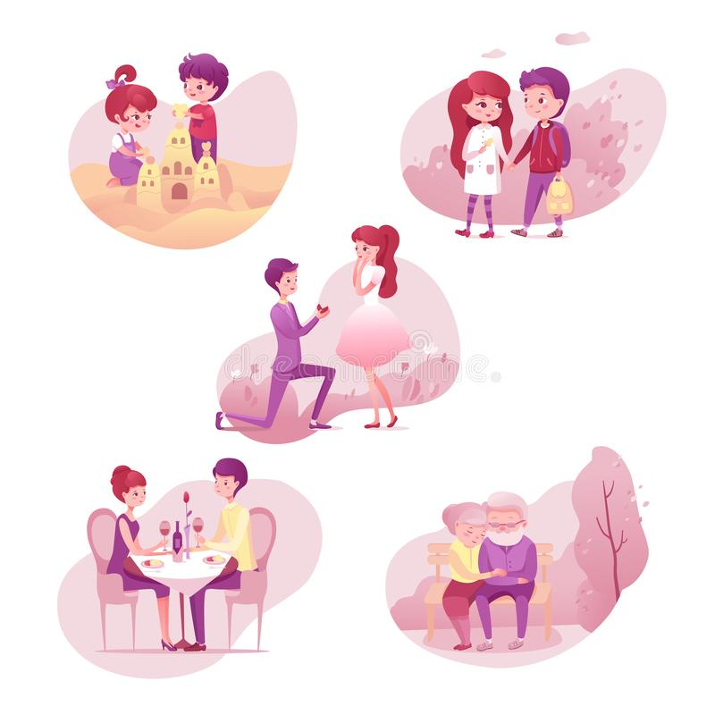 Romantic relationship stages illustrations set isolated on white background. Romantic relationship stages illustrations set. ouple different age, generation stock illustration