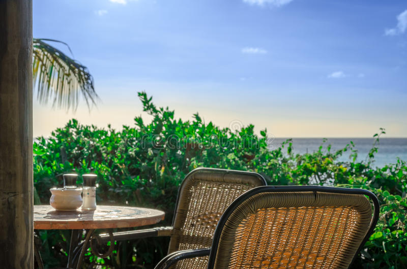 Romantic restaurant at the Sandy Beach on a Caribbean island stock photography