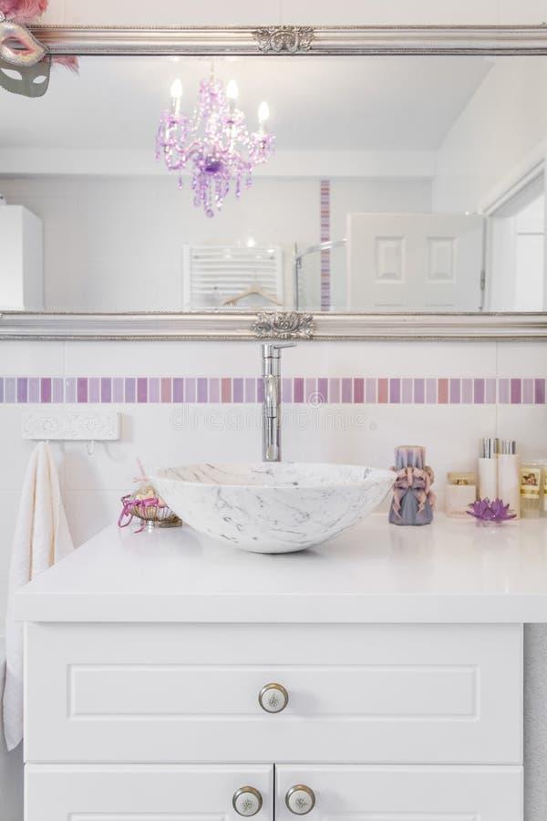 Romantic retro bathroom stock image