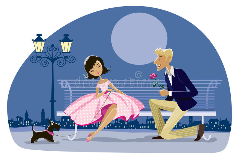 Download Romantic Retro Couple With A Dog Stock Vector - Illustration of bench, proposal: 43640617