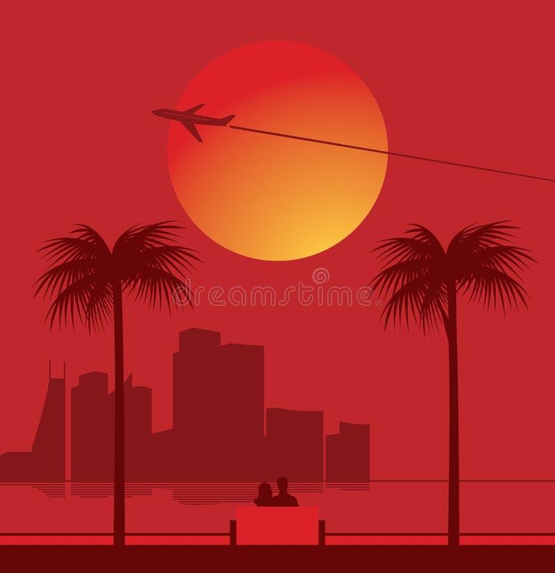 Romantic Scene. Panoramic city view and romantic feelings vector illustration