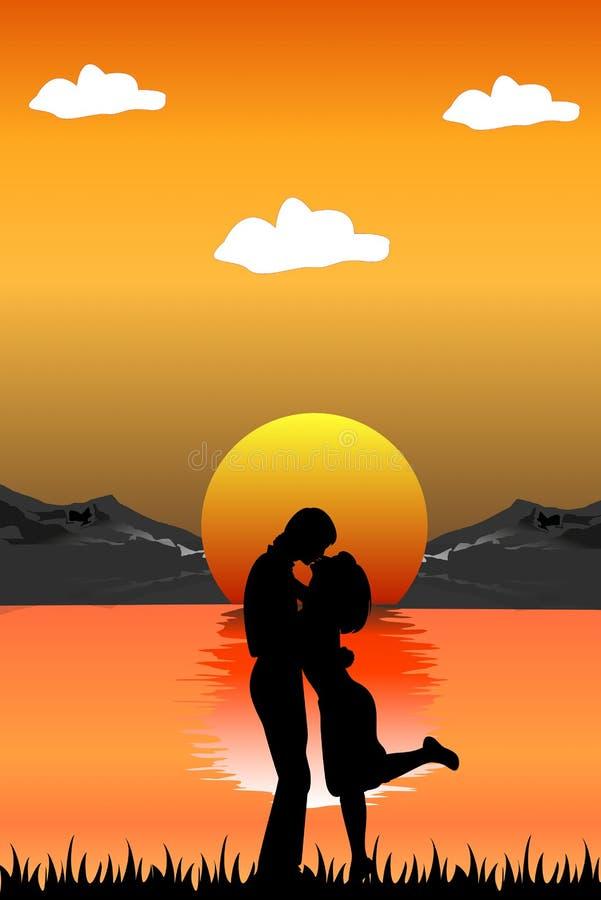 Romantic scene royalty free illustration