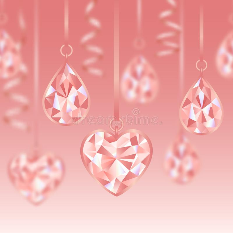 Free Romantic Seamless Border Wiht Pink Diamonds And Blur Effect Royalty Free Stock Image - 165100006