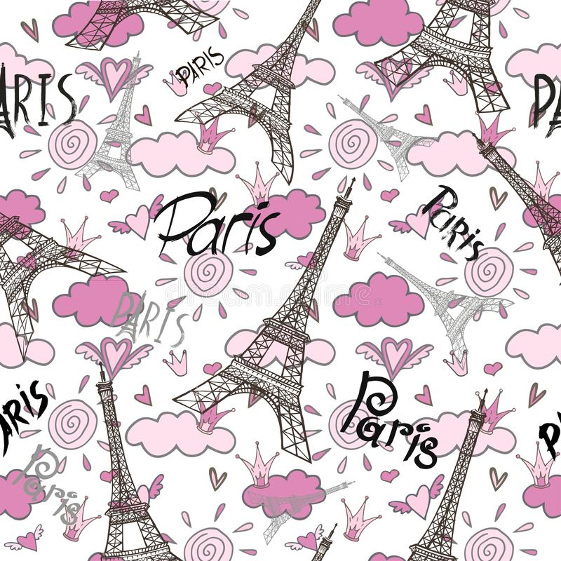 As Creation Pink Paris Pattern Eiffel Tower Childrens: Romantic Seamless Eiffel Tower Paris Background Stock