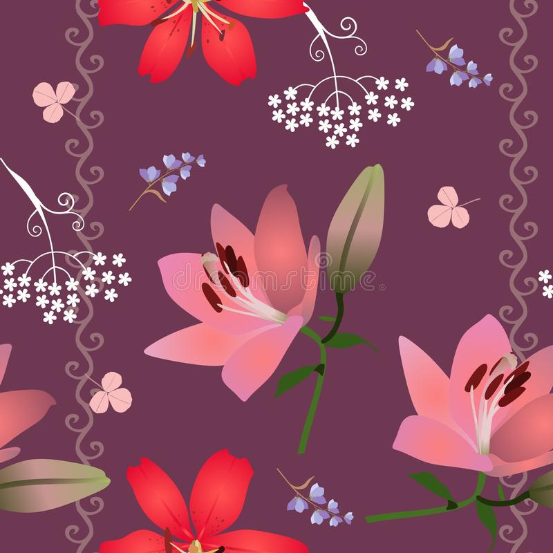Romantic seamless floral pattern with red and pink lilies, abstract umbrella flowers and leaves of clover on brown background. In vector royalty free illustration