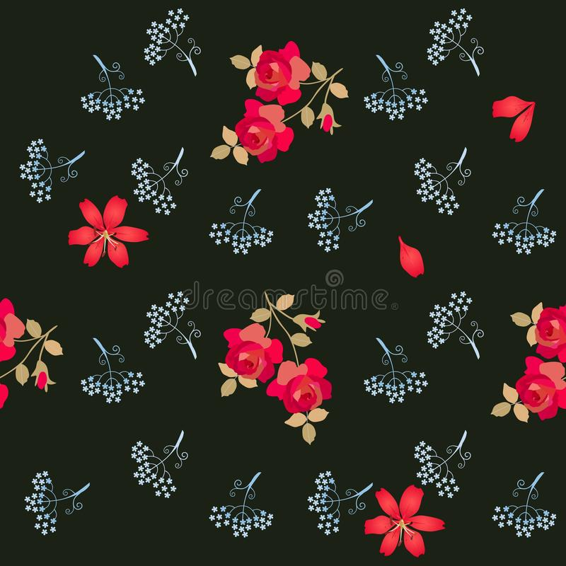 Romantic seamless floral pattern with stylized umbrella flowers, red roses and lilies isolated on black background in vector. royalty free illustration