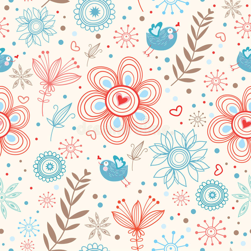 Romantic seamless pattern stock illustration