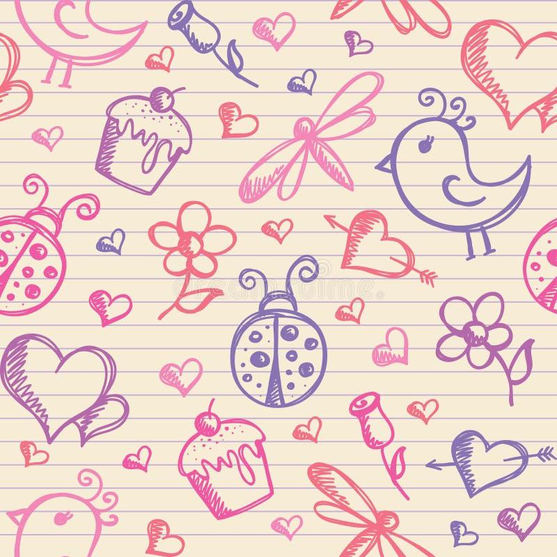 Romantic Seamless Pattern Stock Photo